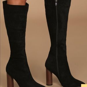 Talk black suede boots